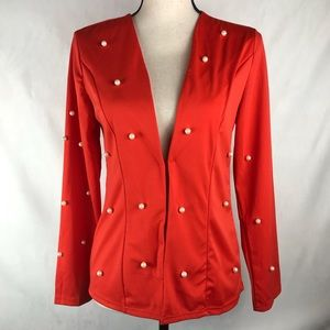 Unbranded Red Jacket With Random Pearls Small